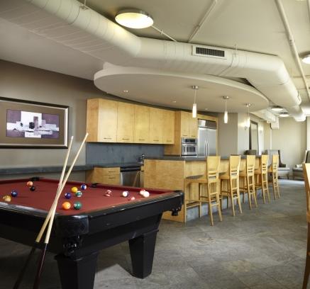 Billiards Lounge at Camden Potomac Yard Apartments in Arlington Virginia near Washington DC