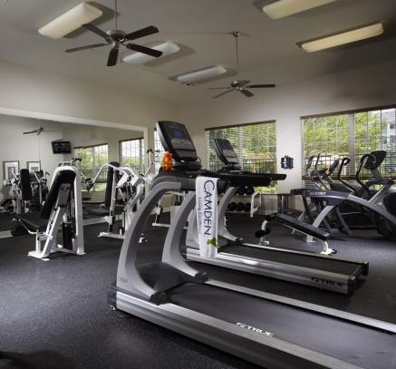Fitness center at Camden Silo Creek Apartments in Ashburn, Virginia