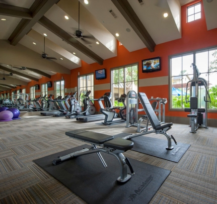 Fitness Center at Camden Woodson Park Apartments in Houston, Texas